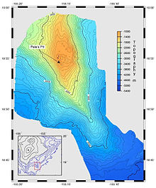 Map of a north–south ridge, trending slightly east of south. Draws lines through areas of a given water depth with an arrow pointing to Pele's Pit. At its peak, Pele's pit is about 1,000 meters below sea level; further south the ridge gradually descends about 3,500 metres to the sea floor.