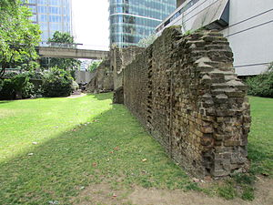 London Wall the west gate of Cripplegate section of Roman wall 01.JPG
