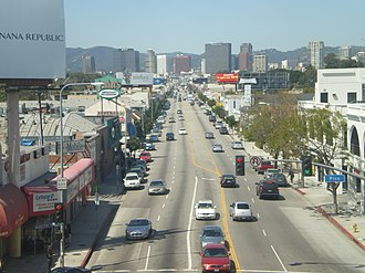 Westwood Boulevard - Looking north on Westwood Boulevard into Westwood