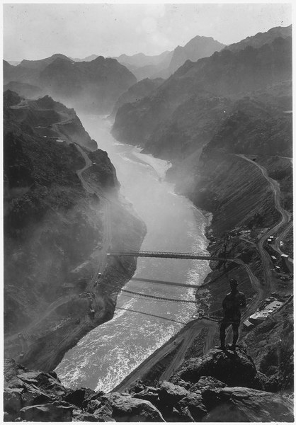 File:Looking downstream into Black Canyon from point on Nevada side above outlet portals of diversion tunnels - NARA - 293754.tiff