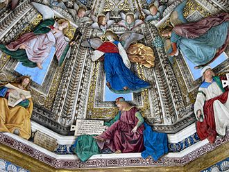 Perspective (graphical) - Melozzo's use of upward foreshortening in his frescoes