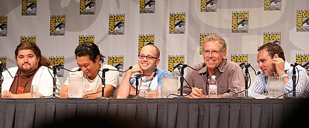 From left to right: actors Jorge Garcia and Daniel Dae Kim with executive producers Damon Lindelof, Carlton Cuse and Bryan Burk Lost chair.jpg