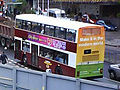 Lothian Buses bus in old Madder and White livery with rear advert.jpg