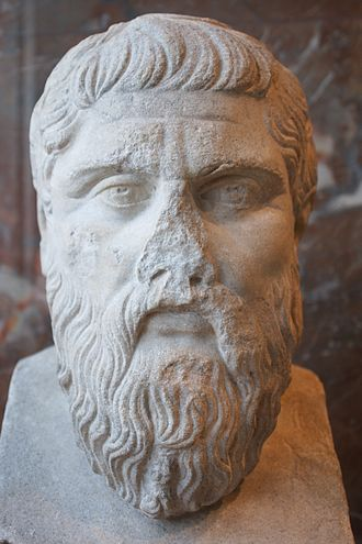 Education in ancient Greece - Plato bust on exhibition at The Louvre
