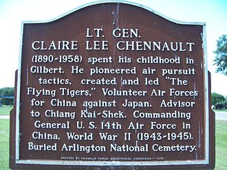 Louisiana Highway 15 - Historical marker for General Claire Chennault in Gibson