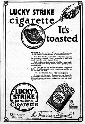 """Lucky Strike - The """"It's Toasted"""" ad as explained, from 1917"""