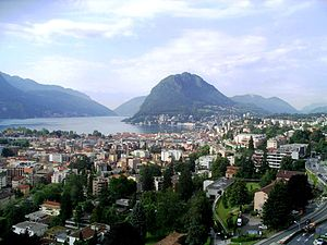 English: Lugano (Ticino). View on Lake Lugano ...