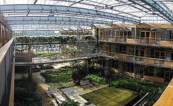 La lumière (zénithale et naturelle, dans la mesure du possible) est l'un des aspects particulièrement étudié, notamment parce qu'elle est nécessaire aux plantes et à une bonne qualité de vie (ici, Université de Wageningen, Pays-Bas)
