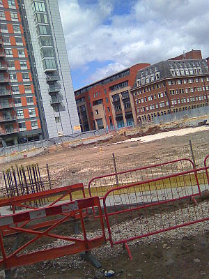 Lumiere (skyscraper) - Picture taken of the Lumiere site on 1 August 2008 after work to construct the Simpson Haugh designed twin skyscraper scheme was put on hold