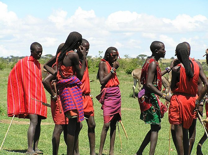 Dressed up Maasai warriors