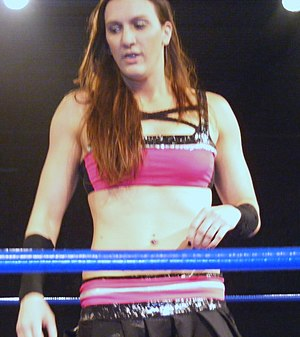 Women's professional wrestling - Image: Madison Eagles prior to wrestling Manami Toyota at CHIKARA King of Trios Night 3 on 4 17 11