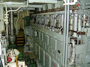 Marine propulsion - A modern diesel engine aboard a cargo ship