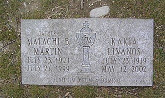 The footstone of Malachi Martin in Gate of Heaven Cemetery Malachi Martin Footstone 2011C.jpg