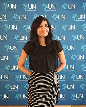 Malvika Iyer - Malvika Iyer at the Headquarters of the United Nations in New York City during the Youth Forum at the 61st session on Commission on the Status of Women in March 2017.