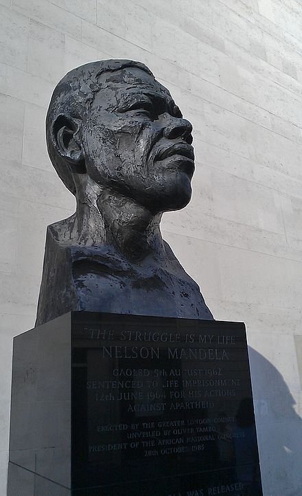 Bust of Mandela erected on London's South Bank by the Greater London Council administration of Ken Livingstone in 1985 Mandela Bust at Southbank.jpg