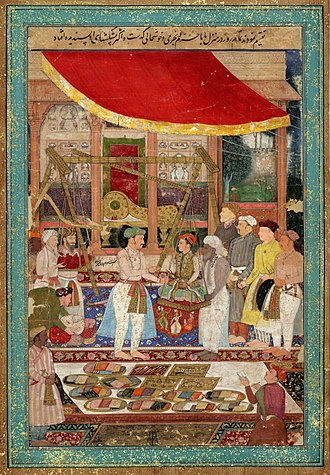 Jahangir - Emperor Jahangir weighing his son Prince Khurram(the future Shah Jahan) on a weighing scale by artist Manohar(AD 1615)