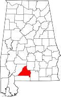 Map of Alabama highlighting Conecuh County
