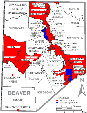 Beaver County, Pennsylvania - Map of Beaver County, Pennsylvania with Municipal Labels showing Cities and Boroughs (red), Townships (white), and Census-designated places (blue).
