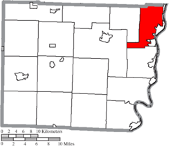 Location of Pease Township in Belmont County
