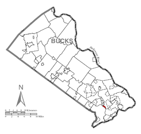 Map of Hulmeville, Bucks County, Pennsylvania Highlighted.png