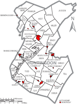 Map of Huntingdon County, Pennsylvania with Municipal Labels showing Boroughs (red) and Townships (white).
