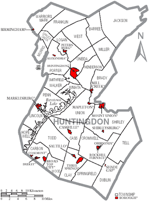 Map of Huntingdon County Pennsylvania With Municipal and Township Labels.png