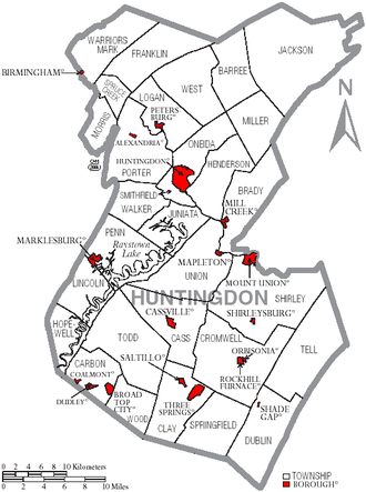 Huntingdon County, Pennsylvania - Map of Huntingdon County, Pennsylvania with Municipal Labels showing Boroughs (red) and Townships (white).