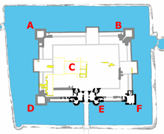 Kirby Muxloe Castle - Plan of the castle. Key: A – east tower; B – south tower; C – site of earlier manor; D – north tower; E – gatehouse; F – west tower; black, dark and light grey – 1480s buildings, foundations and intended design; dark and light yellow – earlier manorial foundations and possible design