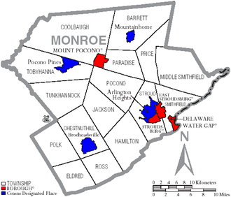 Monroe County, Pennsylvania - Map of Monroe County, Pennsylvania with Municipal Labels showing Boroughs (red), Townships (white), and Census-designated places (blue).