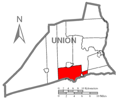 Map of Union County, Pennsylvania highlighting Limestone Township