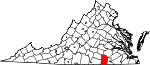 State map highlighting Brunswick County