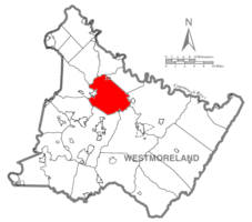 Map of Westmoreland County, Pennsylvania Highlighting Salem Township