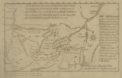 Map of the Country of the Five Nations belonging to the province of New York and of the Lakes near which the Nations of Far Indians live with part of Canada taken from the Map of the Louisiane done 1730.png