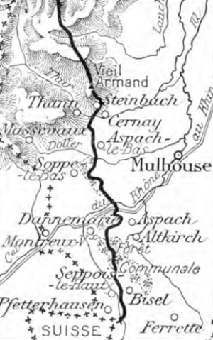 Battle of Hartmannswillerkopf - Image: Map of the Sundgau 1914 1918