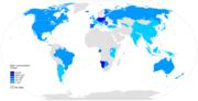 Mapa světa zbarvená dle spotřeby piva na osobu