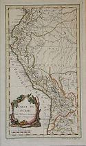 Mapa del Perú. Benard. Ca. 1750.