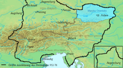 Austria (Marchia Orientalis in blue)before its separation from the Bavarian lands