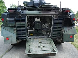 Marder (IFV) - A Marder 1A3 from the rear, with the ramp lowered