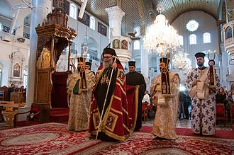 Mariamite Cathedral of Damascus - Divine Liturgy led by patriarch John the tenth at  Mariamite Cathedral of Damascus