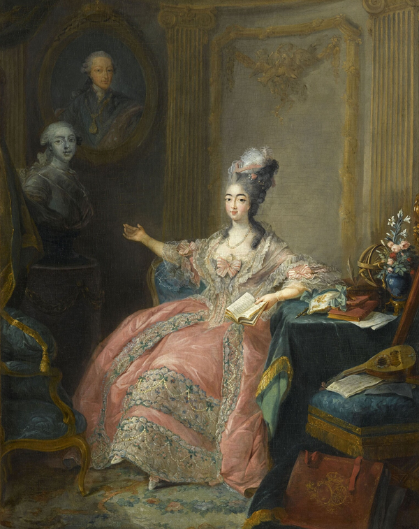 Marie-Josephine pointing to a bust of her husband with a portrait of her father Marie Josephine de Savoie.png