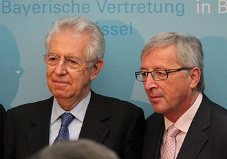 Jean-Claude Juncker - Juncker with the Italian Prime Minister Mario Monti on 27 June 2012