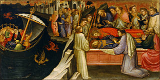Predella Panel Representing the Legend of St. Stephen: Devils Agitating the Sea as Giuliana Transports the Body of St. Stephen from Jerusalem to Constantinople / The Re-interment of St. Stephen beside St. Lawrence in Rome