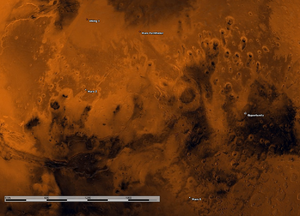 Mars 6 - Map of the planet Mars, showing the locations of Viking 1, Mars 2, Mars Pathfinder, Opportunity and Mars 6 (lower centre of the image, near the scale bar).