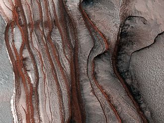 Chasma Boreale - Red Cliffs of Mars, at the Chasma Boreale. 2008 photo by HiRISE.