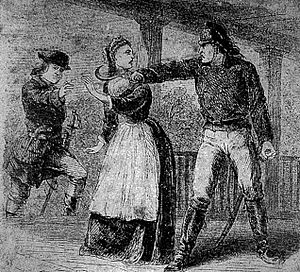 Huck's Defeat - A member of the British Legion threatens to kill Martha Bratton if she does not reveal the whereabouts of her husband. (Mid-nineteenth century illustration, Harper's Weekly).