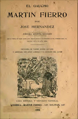 Martín Fierro - One of the early editions of Martín Fierro, published in 1894.