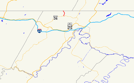 A map of western Allegany County, Maryland showing major roads.  Maryland Route 47 connects MD 36 with PA 160 around Barrelville.