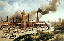 Industrielle Anfänge in Berlin: Die Maschinenbau-Anstalt des Unternehmers August Borsig im Jahr 1847, Karl Eduard Biermann (Quelle: Wikimedia)