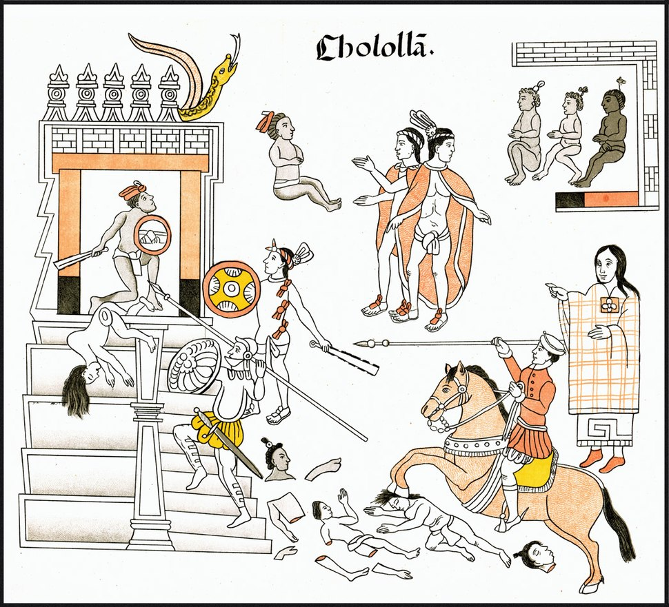 Matanza de Cholula por conquistadores españoles Lienzo de Tlaxcala