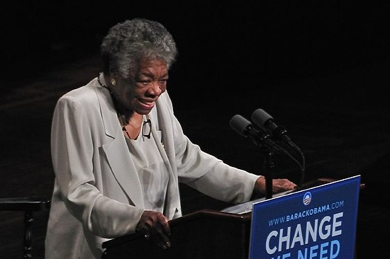 Maya Angelou speaking at a rally for Barack Obama, 2008 Maya Angelou speech for Barack Obama campaign 2008.jpg